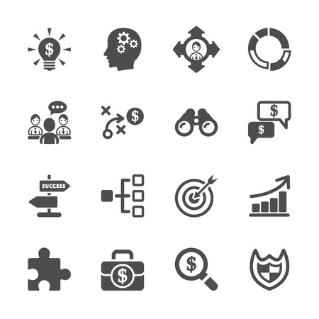 discussion meeting: business strategy icon set Illustration