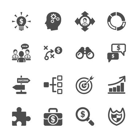 strategy: estrategia de negocios conjunto de iconos