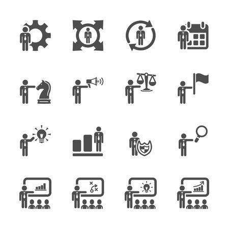 zarządzanie zasobami ludzki ikona zestaw 3 Ilustracje wektorowe