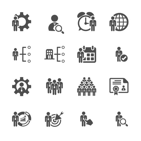 business and human resource management icon set Ilustracja