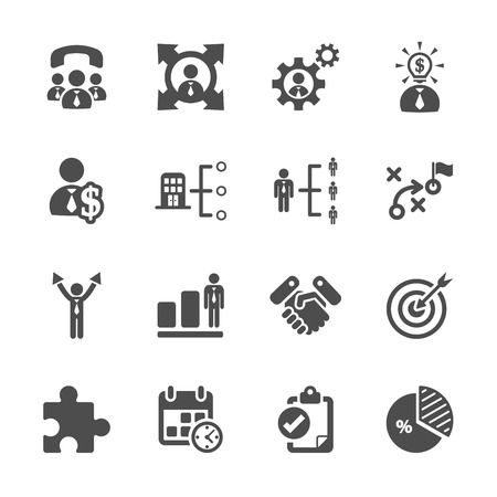 work icons: business and management icon set, vector eps10. Illustration