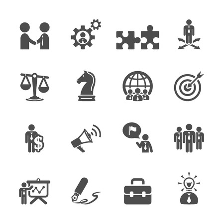 law office: business and strategy icon set