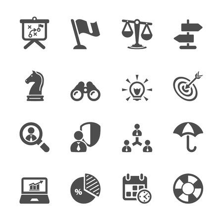 estrategia: icono de negocio y estrategia de conjunto 2 Vectores