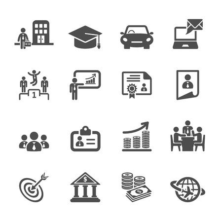 Student Life: business career life cycle icon set