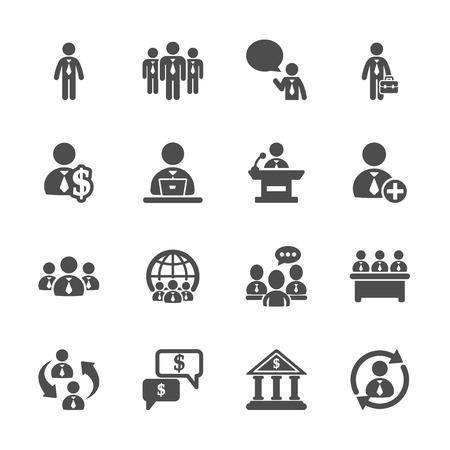 bank icon: business people icon set Illustration