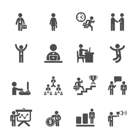 pr: business people working action icon set,