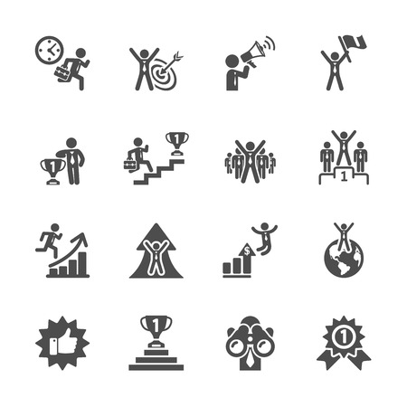 business success icon set Illusztráció