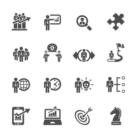 estrategia: icono de negocio y estrategia de conjunto 3 Vectores