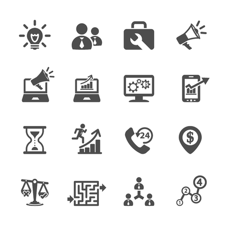 business and management icon set 8 向量圖像