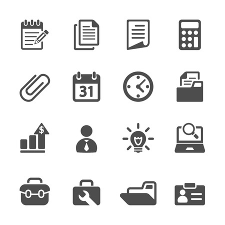 card file: business and office icon set