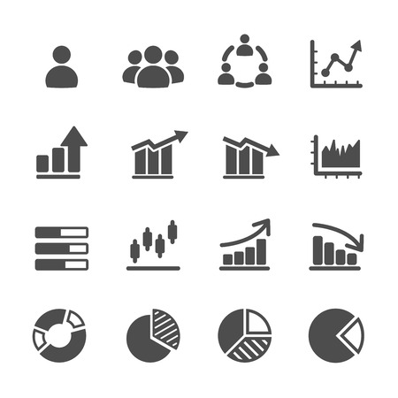 round icons: infographic and chart icon set