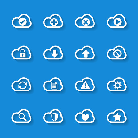 cloud computing services: cloud computing icon set Illustration