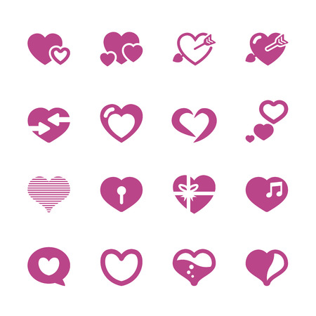 heart and valentine day icon set 2