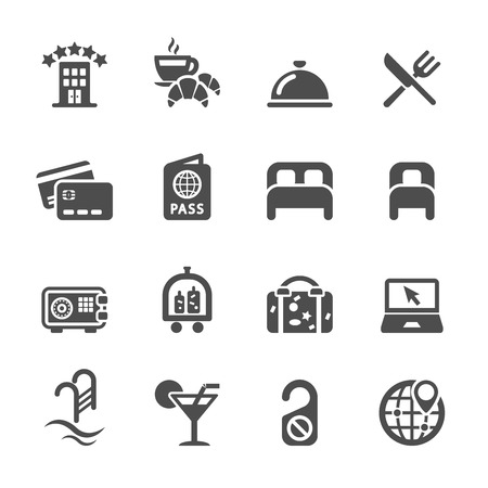 hotel service icon set,