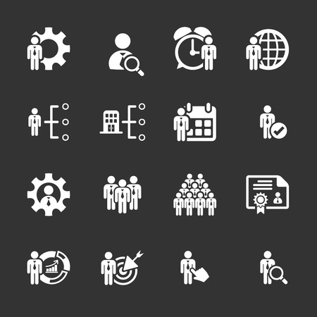 resource management: business and human resource management icon set.