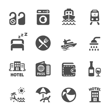 hotel and vacation icon set. 向量圖像