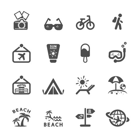 tree world tree service: travel icon set 2, vector.