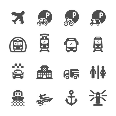 bus parking: transportation and infrastructure icon set, vector eps10.