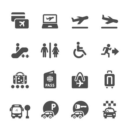 luchthaven en reizen pictogram set, vector eps10. Stock Illustratie