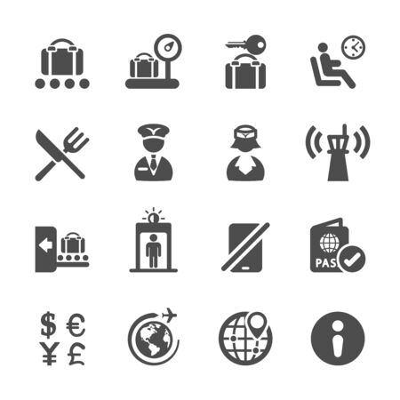 travel and airport icon set 2