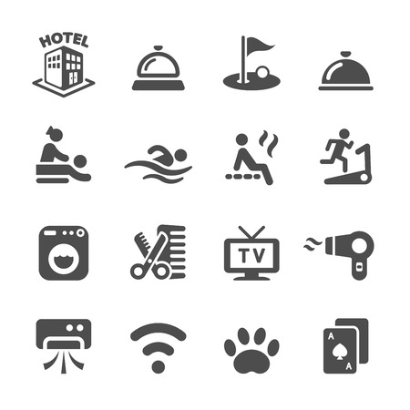 hotel building: hotel service icon set