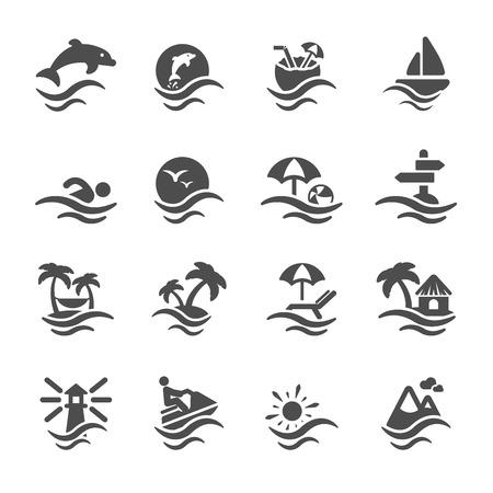 moto acuatica: verano icono de la playa conjunto