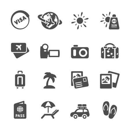 handycam: travel and vacation icon set Illustration