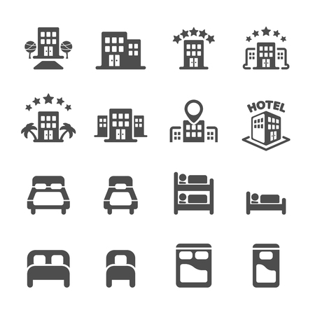 hostel: hotel building and bedroom icon set