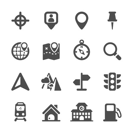 filling station: map location icon set, vector eps10.