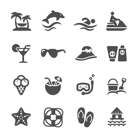 travel and summer beach icon set Çizim