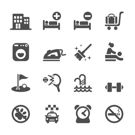 dog allowed: hotel service icon set