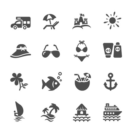 travel and summer beach icon set Vector