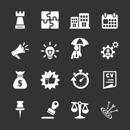 umbella: business concept icon set, white version, vector eps10.