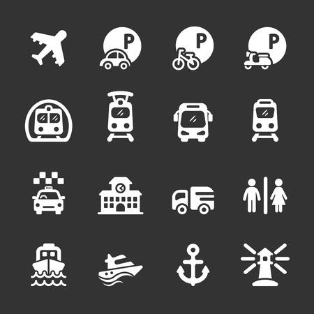 mooring: transportation and infrastructure icon set Illustration