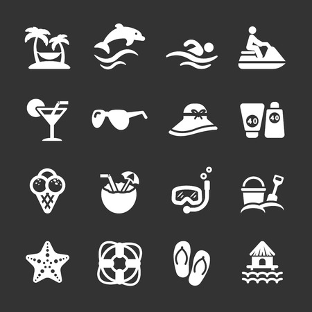 sandal tree: travel and summer beach icon set, white version, vector eps10.
