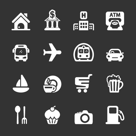 travel map location icon set 向量圖像