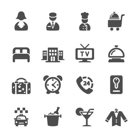 hotel icon: hotel service icon set