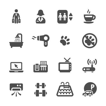 elevator operator: hotel service icon set Illustration