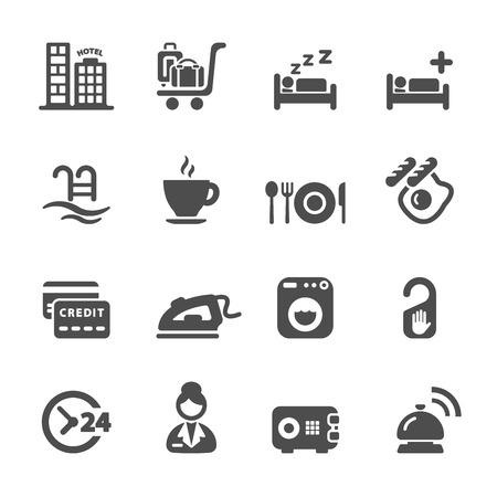 hotel rooms: hotel service icon set Illustration