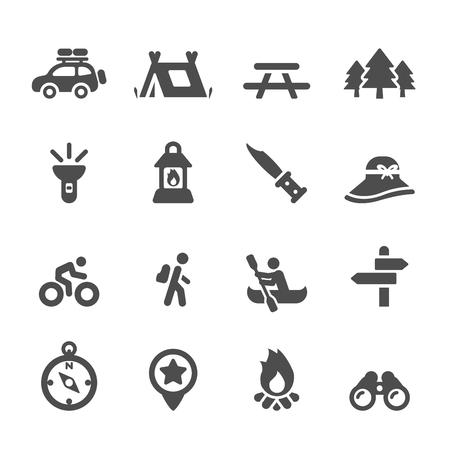 canoeing: camping icon set Illustration
