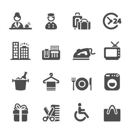 recreation rooms: hotel service icon set