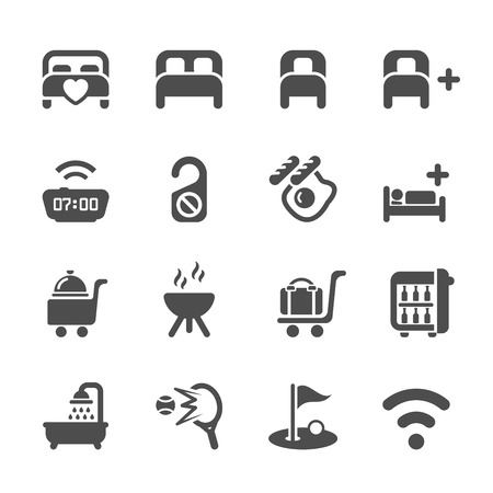 hotel suite: hotel service icon set