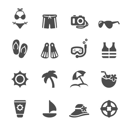 travel and summer beach icon set 일러스트