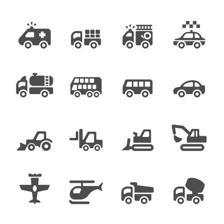 front loader: transporte y vehículos conjunto de iconos 4