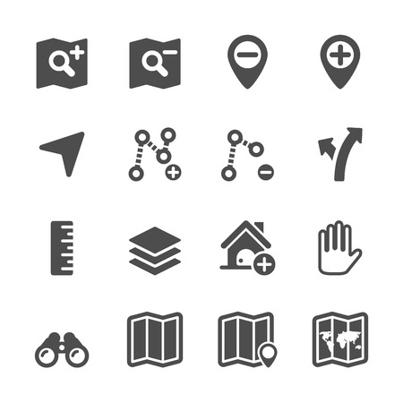 waypoint: map editing icon set, vector
