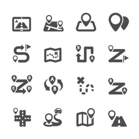 route map: route map icon set, vector  Illustration