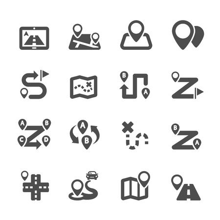 pinning: route map icon set, vector
