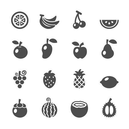 owocowy: owoce zestaw ikon wektora eps10. Ilustracja