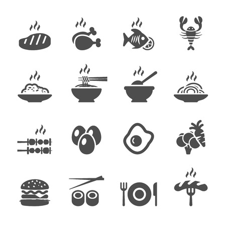 spaghetti dinner: food icon set, vector eps10.