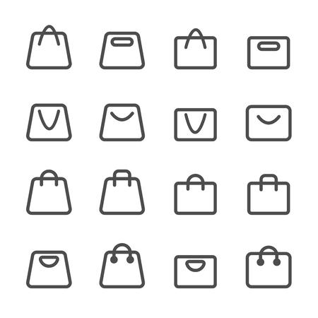 shopping bag icon set, line version, vector eps10. Vector